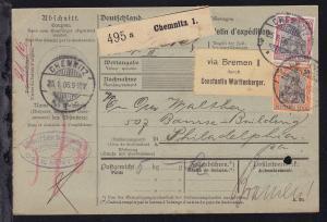 Germania 30 Pfg., 40 Pfg., und 3 M. auf Paketkarte ab Chemnitz 25.1.06 nach