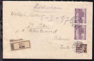 Lindenzweig 10 H. und Landschaften 3 K. waager. Paar auf R-Bf. mit Rückschein