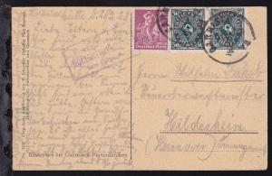 R3 Posthilfsstelle HÖLLENTHALHÜTTE Taxe Garmisch + K1 GARMISCH 26 JUL 23 auf AK