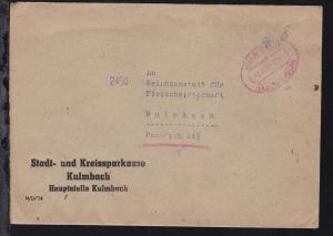 KULMBACH Gebühr bezahlt 9.11.45 auf Brief der Stadt- und Kreissparkasse Kulmbach