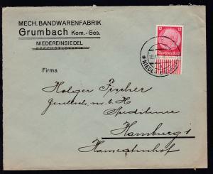 NIEDER EINSIEDEL b 10.XII.38 auf Firmenbrief (Mech. Bandwarenfabrik Grumbach