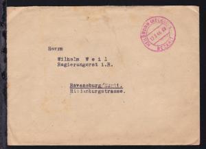HEILBRONN (NECKAR) 1 BEZAHLT 12.3.46 auf Brief nach Ravensburg