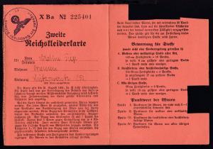 1941 Zweite Reichskleiderkarte mit K1 Ernährungsamt der Hansestadt Bremen,