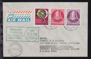 KLM-Erstflugbrief Deutschland-Südafrika 24.10.51