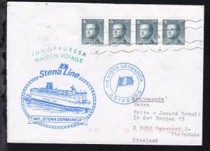 Maschinenstempel Göteborg 8.4.87 + Cachet Jungfernreise MS Stena Germanica