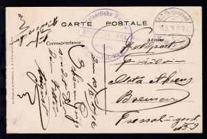 K.D. Feldpostamt des MARINE-KORPS b 13.2.16 + Steg-K1 Kaiserliche Marine