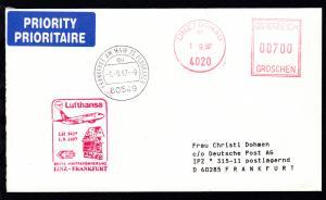 Lufthansa Erstflugbrief Linz/Donau-Frankfurt 1.9.1997