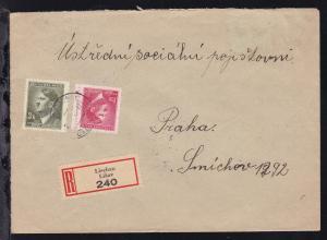 Hitler 1,20 K. und 3 K. auf R-Brief ab Lischau 24.IV.43 nach Prag