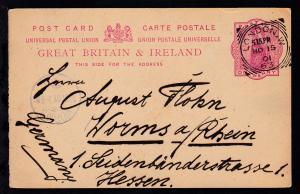 Königin Viktoria 1 P. ab London NO 15 01 nach Worms