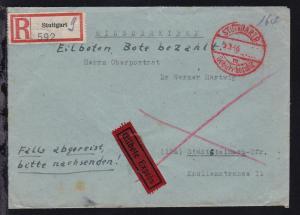 Stuttgart STUTTGART 9 m Gebühr bezahlt 5.3.46 auf Eil-R-Brief nach Stadtsteinach