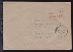 Nürnberg OSt. Nürnberg 18 27.12.45 + R1 Gebühr bezahlt auf Brief nach Kulmbach