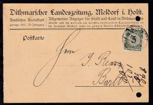Ziffer 5 Pfg. auf Postkarte der Dithmarschen Landeszeitung, Meldorf i. Holst.