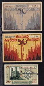 Saalfeld 1921 3 verschiedene Notgeldscheine 2x 50 Pfg. und 25 Pfg.