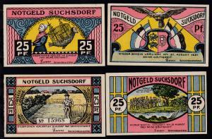 Suchsdorf 1921 4 verschiedene Notgeldscheine a 25 Pfg.