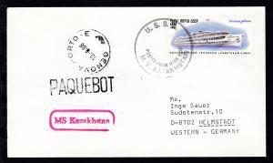 1988 U.S.S.R. POSTED FROM HIGH SEAS M.V. KAZAKHSTAN + Paquetbot Genova auf Brief