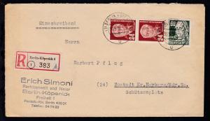 Pieck 24 Pfg. (senkr. Paar) und Persönlichkeiten 60 Pfg. auf R-Brief des