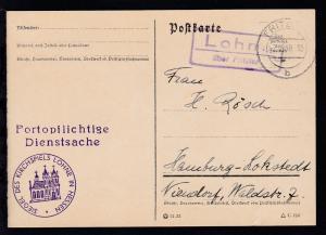 OSt. Fritzlar 7.7.39 + R2 Lohne über Fritzlar auf Dienstpostkarte des