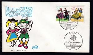 Europamarken 1981 auf FDC ohne Anschrift