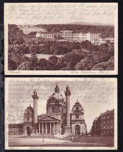 Wien 2 AK Schloss Schönbrunn und Karlskirche