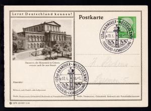 Heuss 10 Pfg. mit Bild Hannover Theater und Stempel (20a) HANNOVER-MESSEGELÄNDE