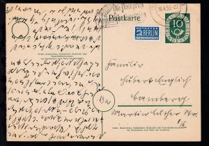 Posthorn 10 Pfg. ab ? 16.4.53 nach Bamberg, Text in Kurzchrift