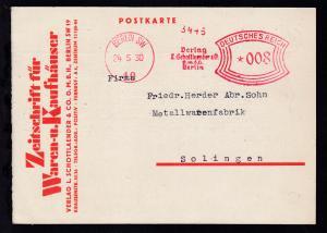 Berlin Absenderfreistempel BERLIN SW 19 24.5.30 Verlag L. Schottlaender & Co