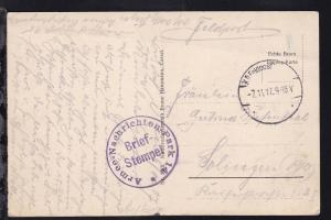 KD Feldpost 7.11.17 + K1 Armee-Nachrichtenpark 14 Briefstempel auf Feldpost-AK