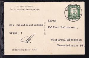 Winterhilfe mit Bild 62: Hamburger Rathaus mit Alster ab Wuppertal 21.1.35