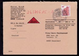 Sehenswürdigkeiten 400 Pfg. auf Nachnahme-Brief ab Lebach 29.3.95