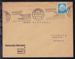 Hannover Maschinenstempel HANNOVER s 1 p 16.6.33 HANNOVER erwartet Sie zur