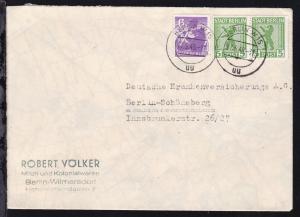Berliner Bär 5 Pfg. (waager. Paar) und 6 Pfg. auf Firmenbrief (Robert Völker,