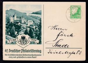 42. Deutscher Philatelistentag 1936 als Einladungskarte  des Verein  für