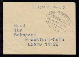 NÜRNBERG-FRANKFURT AM MAIN BAHNPOST c ZUG 00250 3.5.85 auf Briefbundzettel