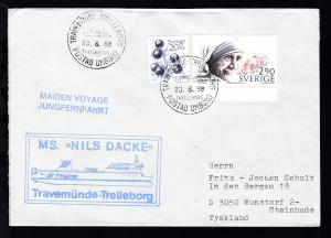 TRAVEMÜNDE-TRELLEBORG TRELLEBORG POSTAD OMBORD 23.8.88 + Cachet MS Nils Dacke