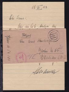 Tarnstempel 21.11.43 + K1 Dienststelle Feldpostnummer M 10237 Briefstempel