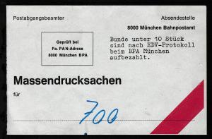 Briefbundzettel für Massendrucksachen des Bahnpostamt München