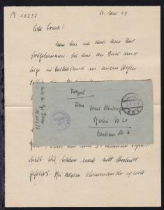 Tarnstempel 15.V.43 + K1 Dienststelle Feldpostnummer M 10237 Briefstempel