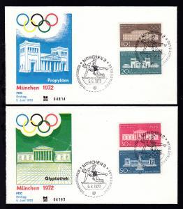 Olympische Sommerspiele München 1972 auf 2 FDC ohne Anschrift