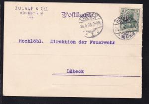 Germania 5 Pfg. auf Firmenpostkarte (Zulauf & Cie, Höchst a.M.) ab Höchst 26.5.6