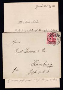 Germania 10 Pfg. auf Brief mit Inhalt ab Zwickau (Sachsen) 10.4.08 nach Hamburg