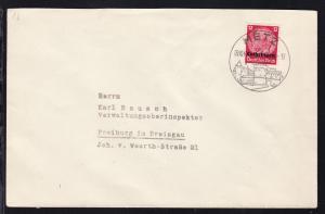 Hindernburg 12 Pfg. mit Aufdruck Lothringen auf Brief ab Metz 09.10.40