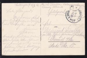 K.B. BAHNPOST NRNB. HOF I 4 SEP. 16 (=Nürnberg-Hof) auf Feldpost-AK