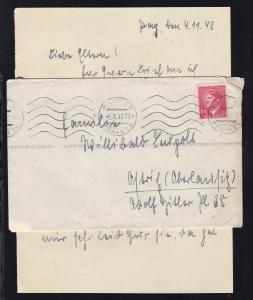 Hitler 1.20K. auf Brief mit Inhalt ab Prag 6.XI.42 nach Ostritz/Oberlausitz