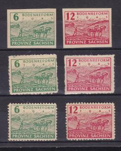 Bodenreform geschnitten, mit Postmeistertrennung (6 Pfg. ohne Gummi) und