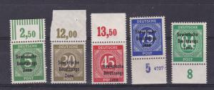 Ziffern mit Aufdruck Sowjetische Besatzungs Zone Ober- bzw. Unterrandstücke **