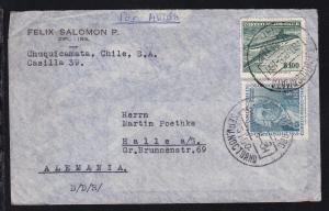 2 Werte auf Brief ab Chuquicamata(= größte Kupfermine der Welt) 18 DIC 58