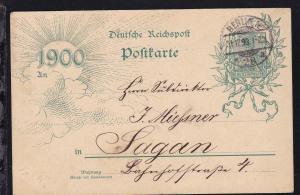Germania 5 Pfg. Jahrhunderwende ab Berlin 31.12.99 nach Sagan,