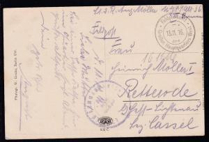 K2 Feldpostamt des Großen Hauptquartiers West - 13.11.16 + undeutl. Briefstempel