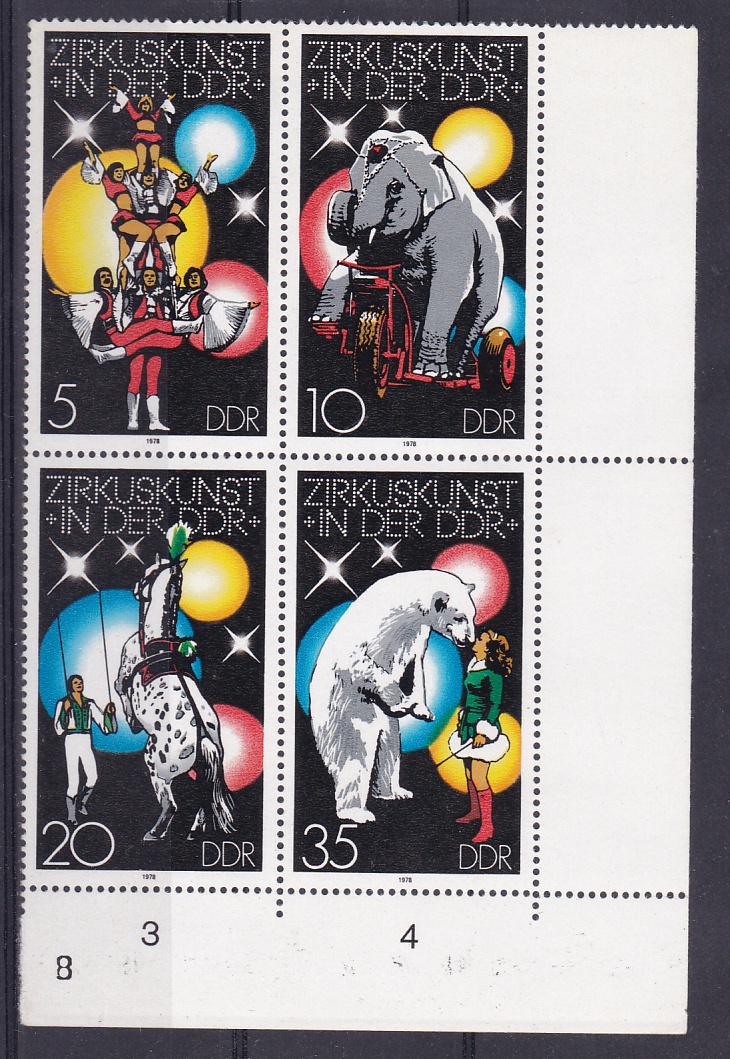 Zirkuskunst in der DDR (I) Eckrandviererblock rechts unten mit 2365I ** 0