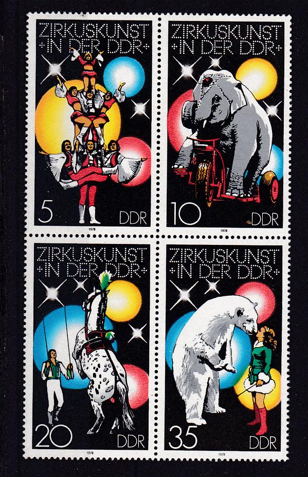 Zirkuskunst in der DDR (I) Viererblock ** 0